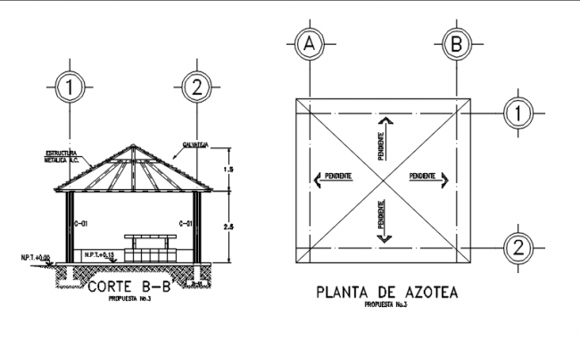 Plan and section B-B' center line detail dwg file