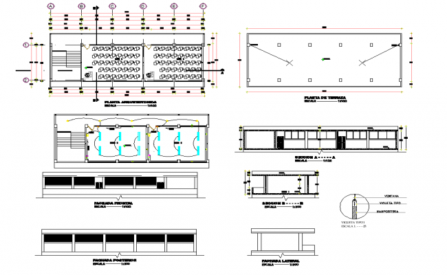 Plan and section Central market plan dwg file
