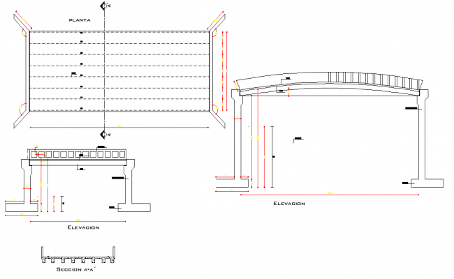 Plan and section bridges layout file