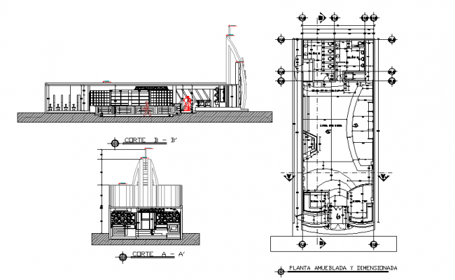 Plan and section center line plan detail dwg file