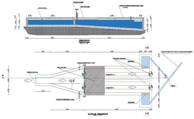 Plan and section desander plant dwg file