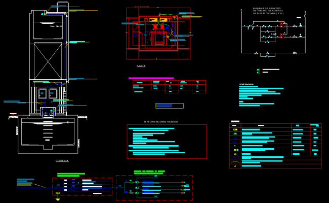 Plan and section electrical elevated plan layout file