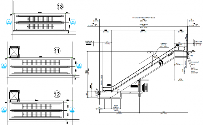 Plan and section machine stair detail dwg file