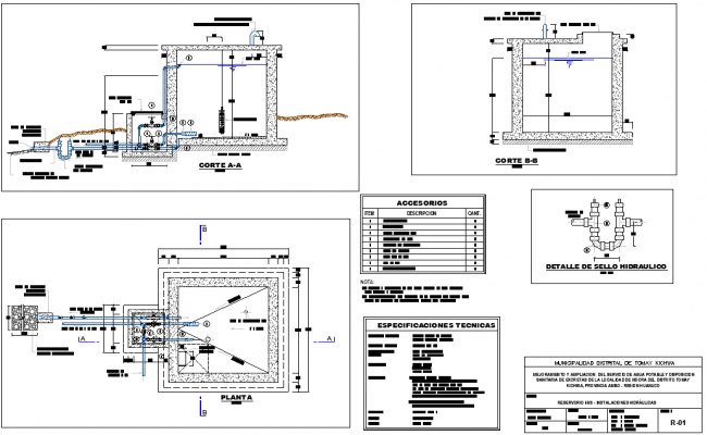 Plan and section map reservoir 5m3 autocad file