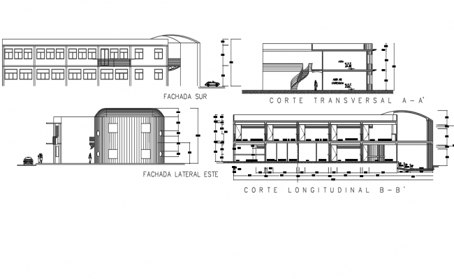 Plan and section school detail dwg file