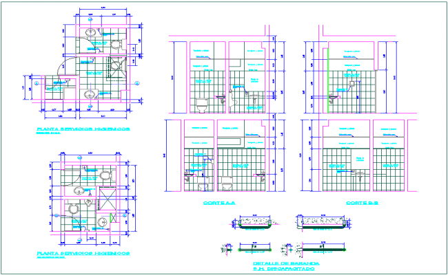 Plan and section view of hygienic service area for banking agency dwg file