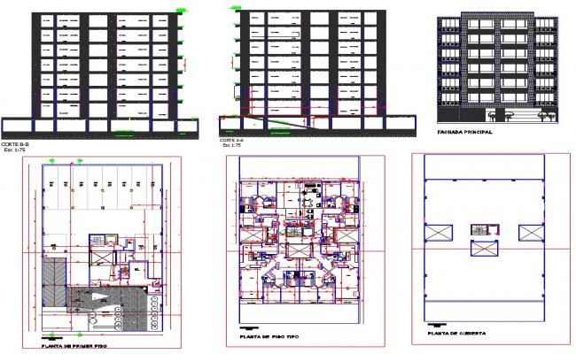 Plan and section view of multi family building dwg file