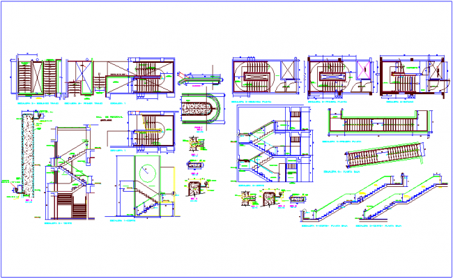 Plan and section view of stair with structural detail dwg file
