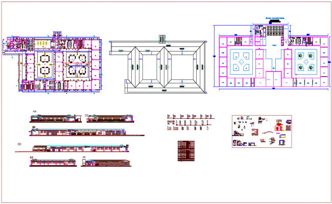 Plan and section view with door view and its schedule and structural detail and section view of school dwg file
