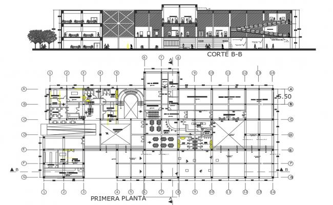 Plan and section working plan detail dwg file