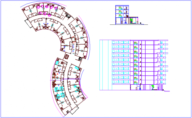 Plan and sectional view of hotel dwg file