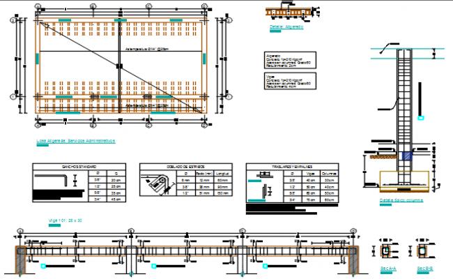 Plan beam and column working plan detail dwg file