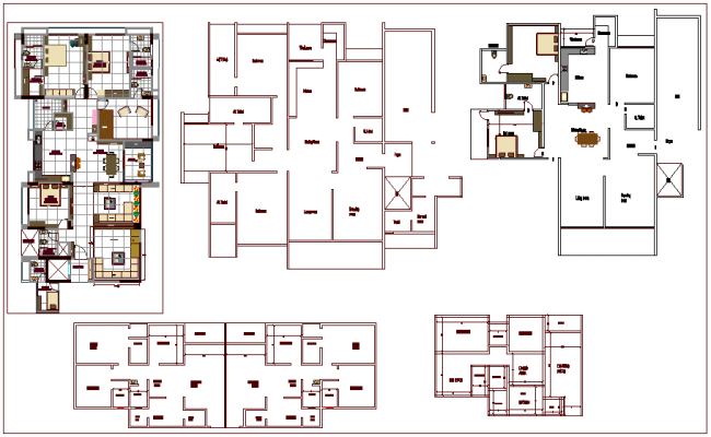 Plan design of house with interior view dwg file