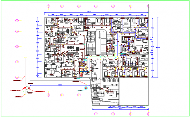 Plan design view of hospital dwg file