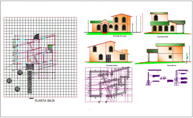 Plan detail of house dwg file