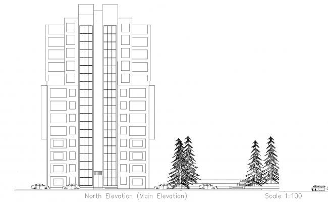 Plan for high rise building detail dwg file,