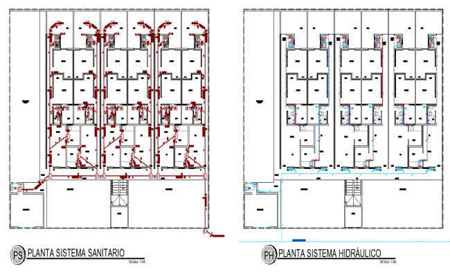 Plan hydraulic system house autocad file