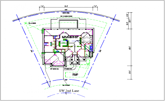 Plan layout map and design layout view of house detail view dwg file