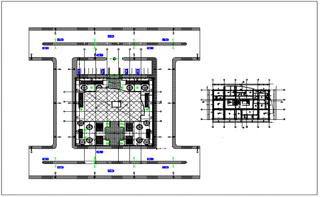 Plan layout of office building view detail dwg file