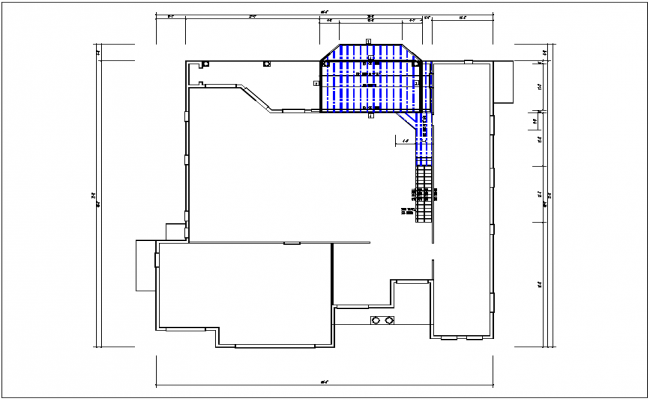 Plan layout of structure with dimensions detail of area dwg file