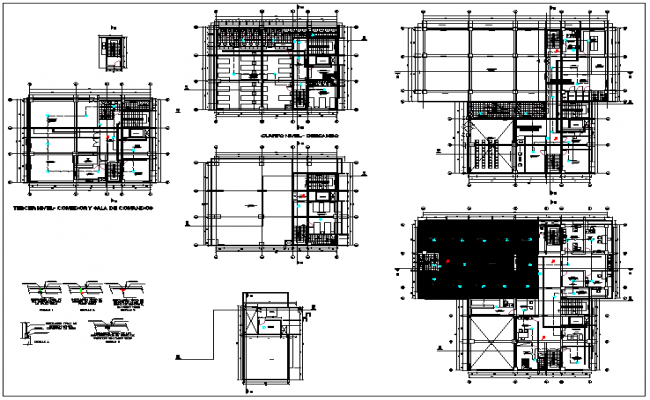 Plan layout view of Office  building dwg file