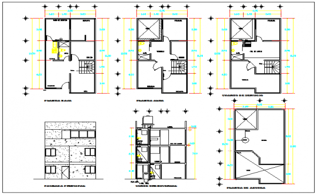 Plan layout view of residential housing plan detail dwg file