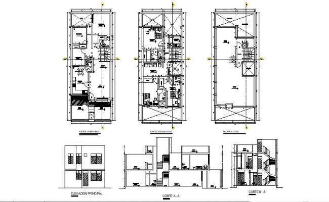 Plan of 2 storey house 7.50mtr x 18.00mtr in dwg file
