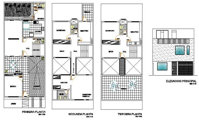 Plan of 2 storey house with elevation in dwg file