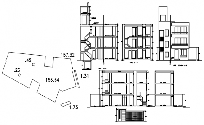 Plan of 3 storey residential apartment with elevation and section in dwg file