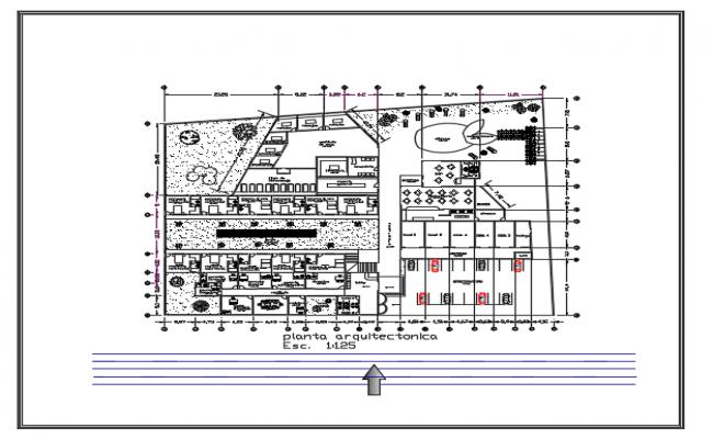 Plan of Hotel dwg file
