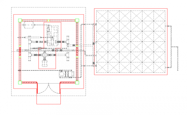 Plan of Pump House with pipe line view dwg file