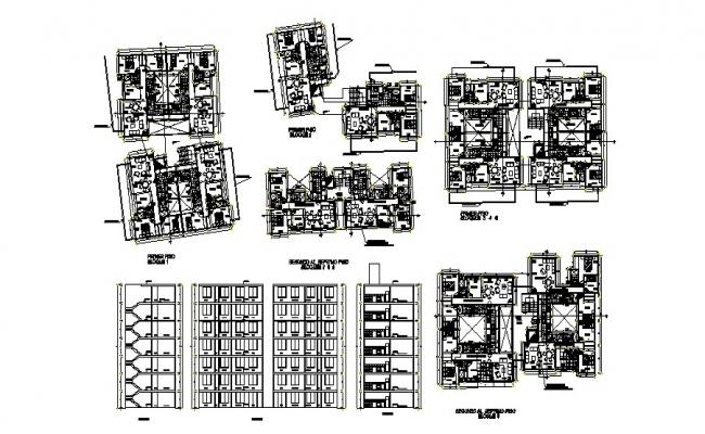 Plan of Residential building with section and elevation in AutoCAD