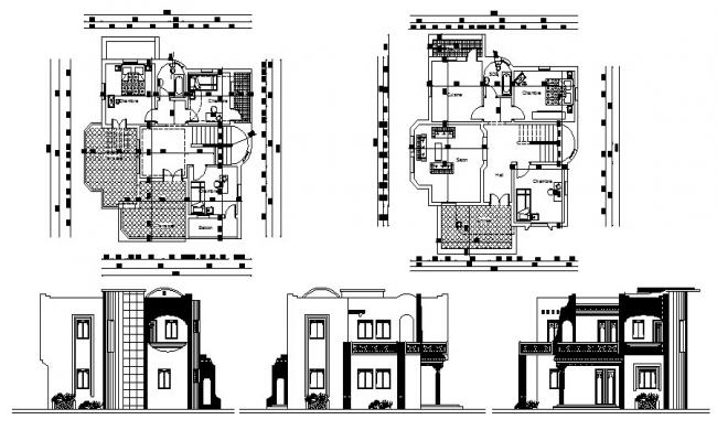 Plan of Villa 10.50mtr x 11.10mtr with elevation in AutoCAD