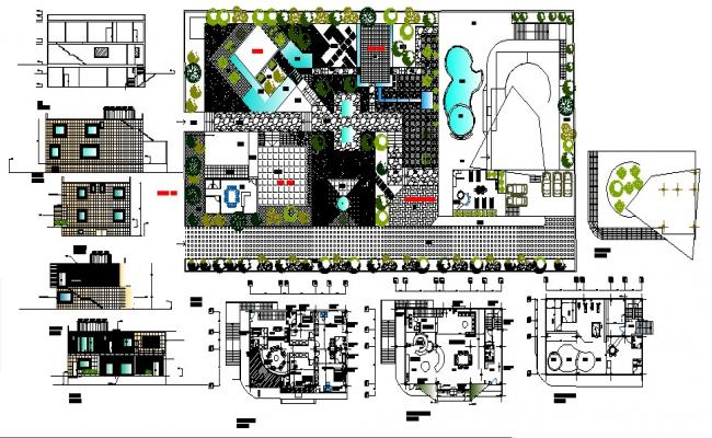 Plan of Villa with different section and elevation in dwg file