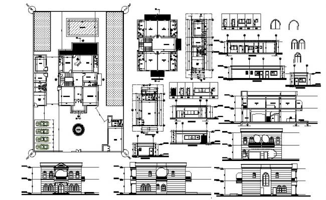 Plan of Villa with elevation and section in AutoCAD