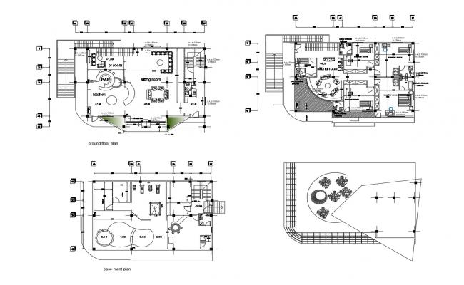 Plan of Villa with furniture details in dwg file