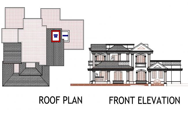 Plan of a bungalow detail dwg file,