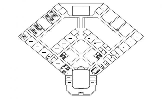 Plan of a college building with detail dimension in AutoCAD