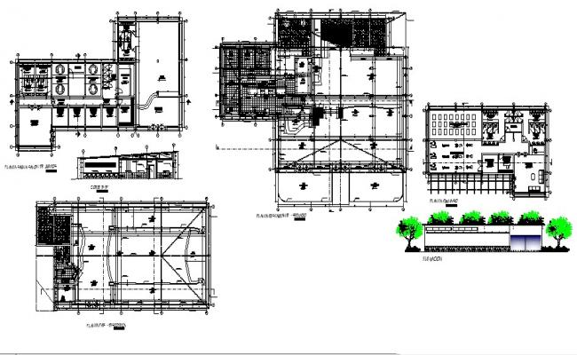 Plan of a commercial building with section and elevation detail in AutoCAD