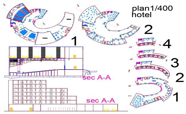 Plan of a hotel