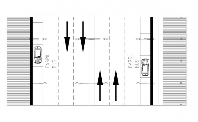 Plan of a road section detailed dwg.