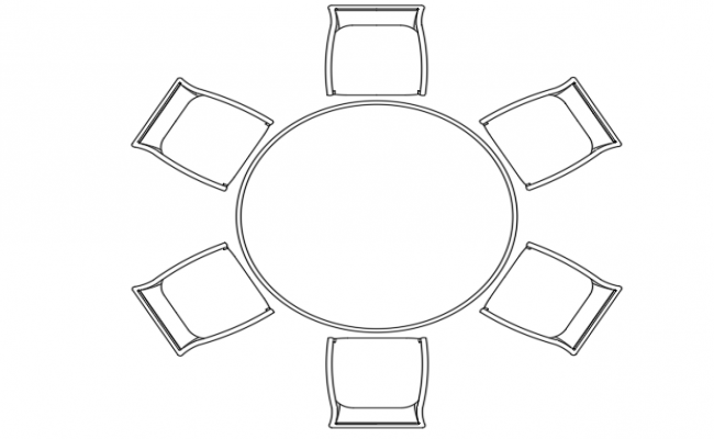 Plan Of A Round Table And 6 Chairs
