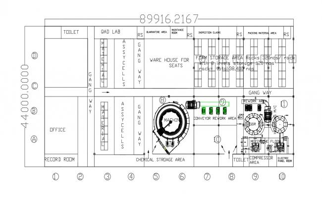 Plan of a warehouse in dwg file