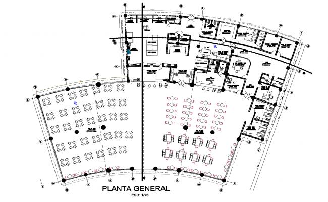 Plan of an ecological resort detail dwg file,