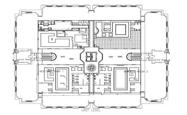 Plan of an office building in dwg file