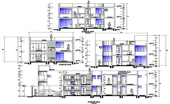 Plan of apartment for multiple families in dwg file