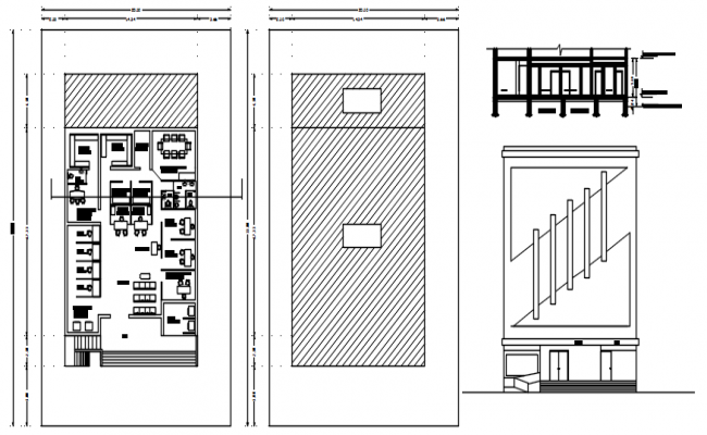 Plan of bank building 20.50mtr x 33.00mtr with elevation and section in dwg file