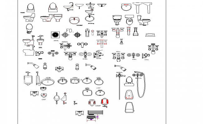 Plan of bathroom equipment detail dwg file.