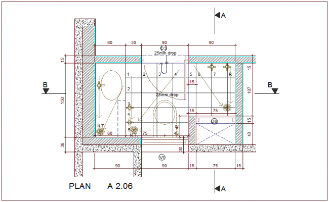 Plan of bathroom with architectural view dwg file
