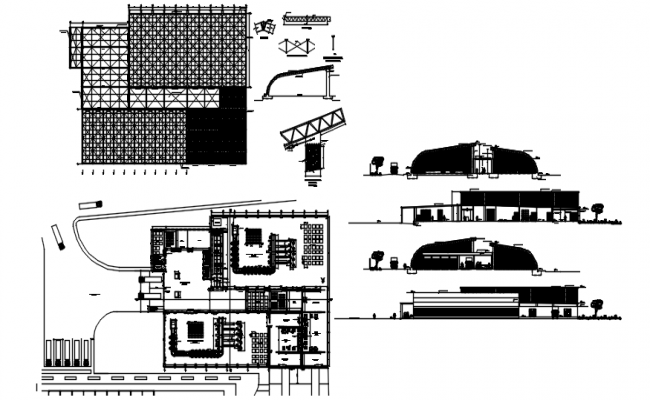 Plan of building with elevation and section in AutoCAD